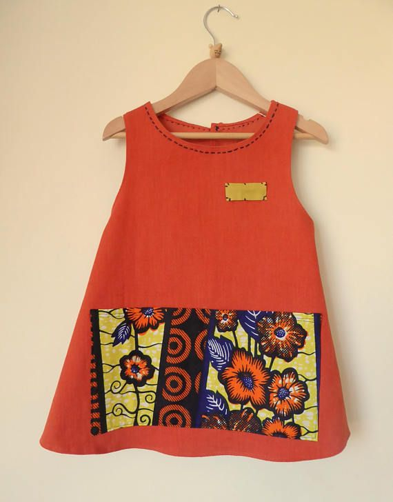 Orange Apron for Girls 7 for carefree play Size 7