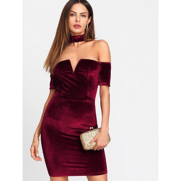 SheIn(sheinside) Form Fitting Velvet Dress ($18) ❤ liked on Polyvore featuring dresses, burgundy, short velvet dress, summer dresses, velvet bodycon dress, bodycon dress and short purple dresses