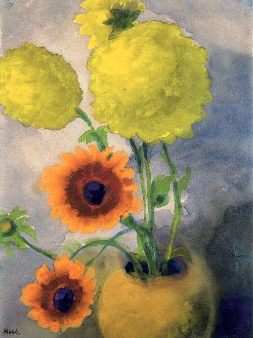 Эмиль #Нольде. Георгины в желтой вазе. 1939, 45×34 см. Акварель, бумага. Частная коллекция