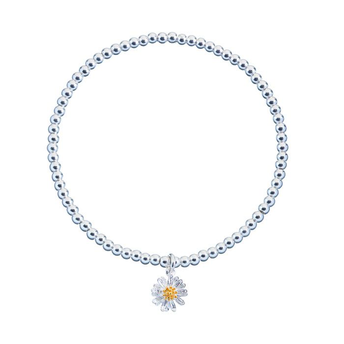 Gorgeous Estella Bartlett Silver Plated Sienna Wildflower Bracelet, crafted from tiny silver plated beads and finished with the prettiest silver and gold plated wildflower.