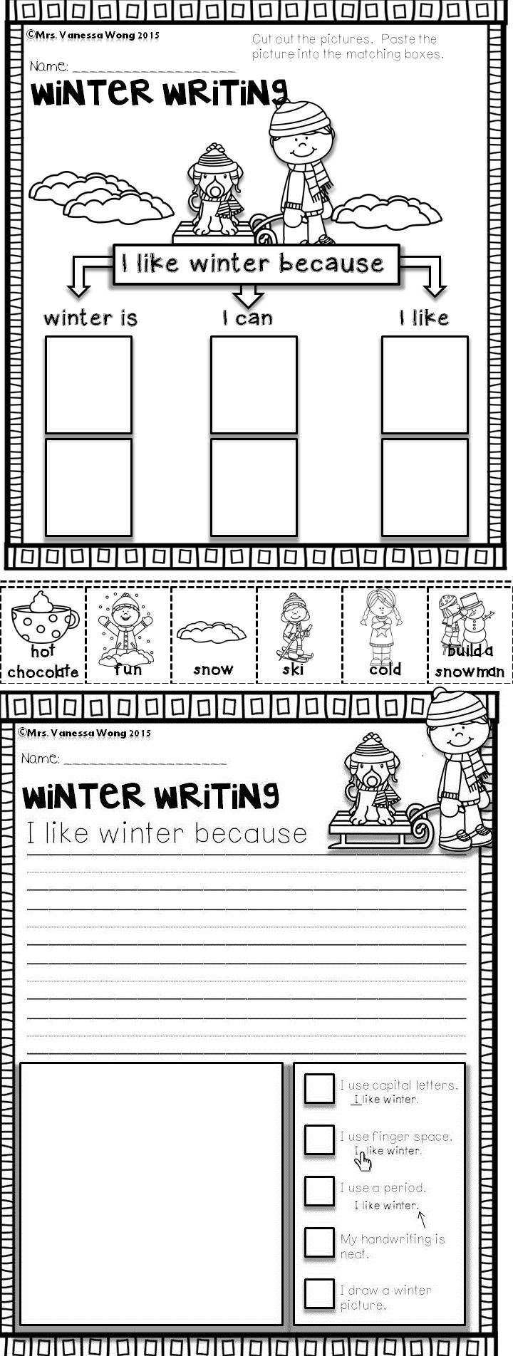 Download free printables at preview. Winter math and literacy centre kindergarten- writing activities --I like winter because..........