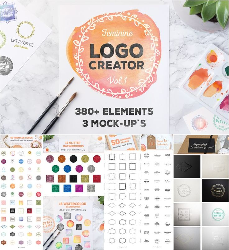 Introducing Logo Creator that contains 380+ elements for your logo designs.Also you will get different decorative frames, text combinations, hand painted watercolor backgrounds and beautiful glitter backgrounds. Free for download. File format: .ai, .psd, .png for Photoshop or other software. File size: 782 Mb.