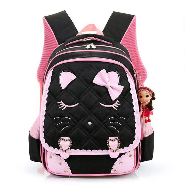 Women Girl Cute Pink Black School Bags Student Bookbag Rucksack Mochila Backpack