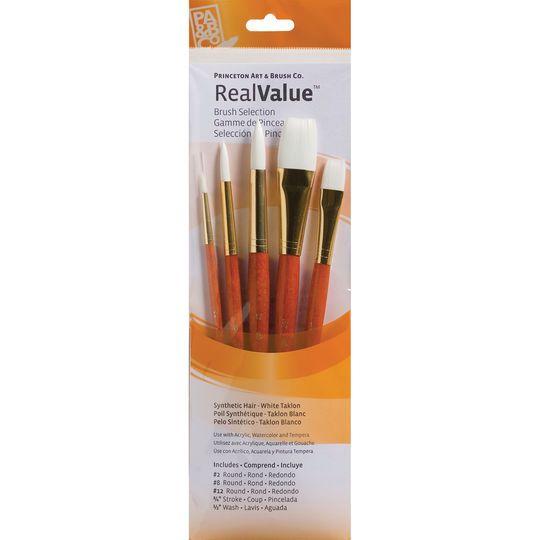 "Princeton Art & Brush Co. RealValue™ White Taklon Brush Set With 3/4"" Stroke"