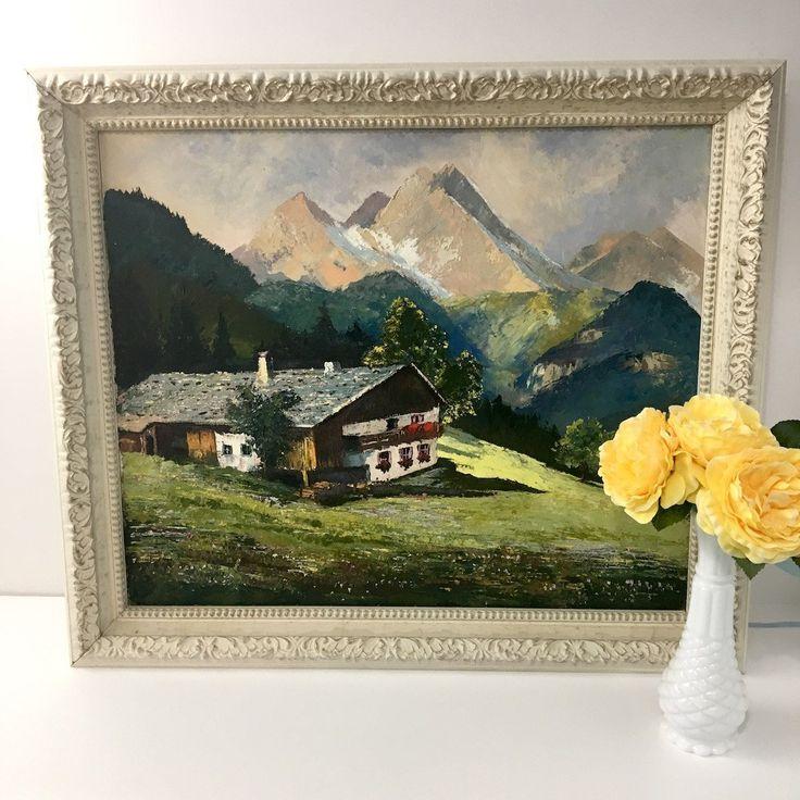 Alpine chalet painting - vintage 1960s European mountain landscape - Hollywood Recency frame