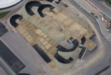 BMX Track is part of the Olympic Park.  The BMX Track will host BMX Cycling during the Olympics