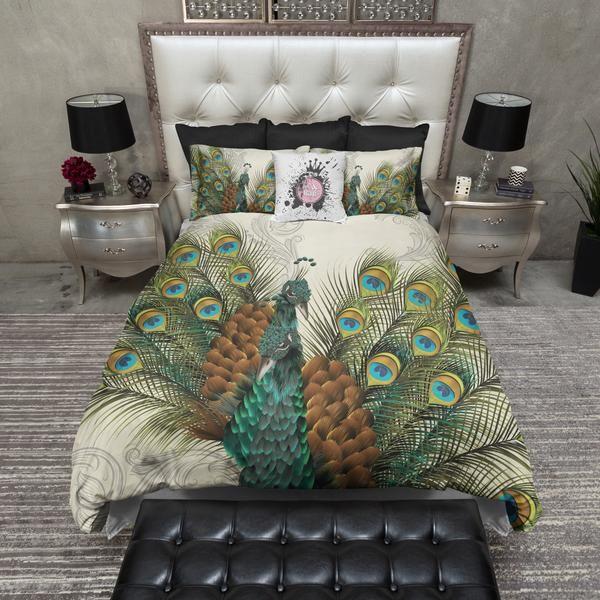 Twin Peacocks Bedding CREAM