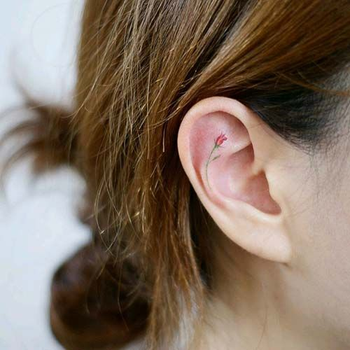 kulak içi çiçek dövmesi inner ear flower tattoo | Kulak Dövmeleri / Ear Tattoos | Pinterest ...