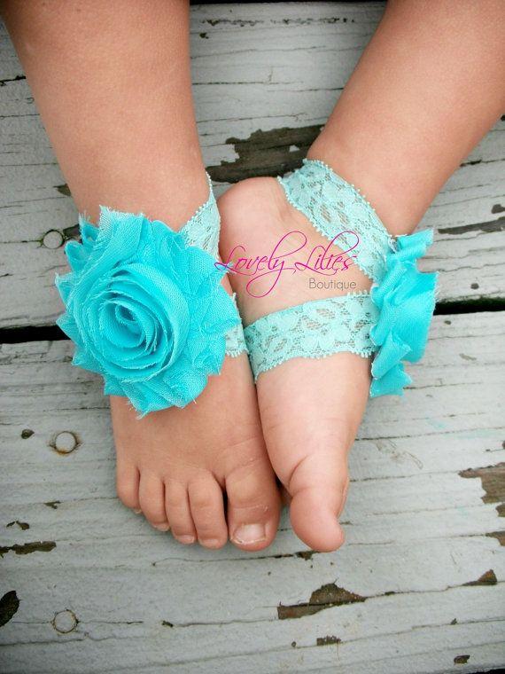 Baby Barefoot Sandals .. Aqua on Lace .. por LovelyLiliesBoutique