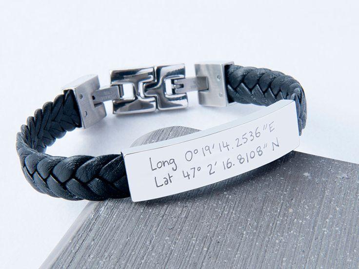 Personalised Leather Braided Bracelet. #leatherbracelet #bracelet #engraved #coordinates