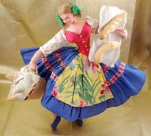 Vintage Layna Peasant Girl Cloth Doll Spain