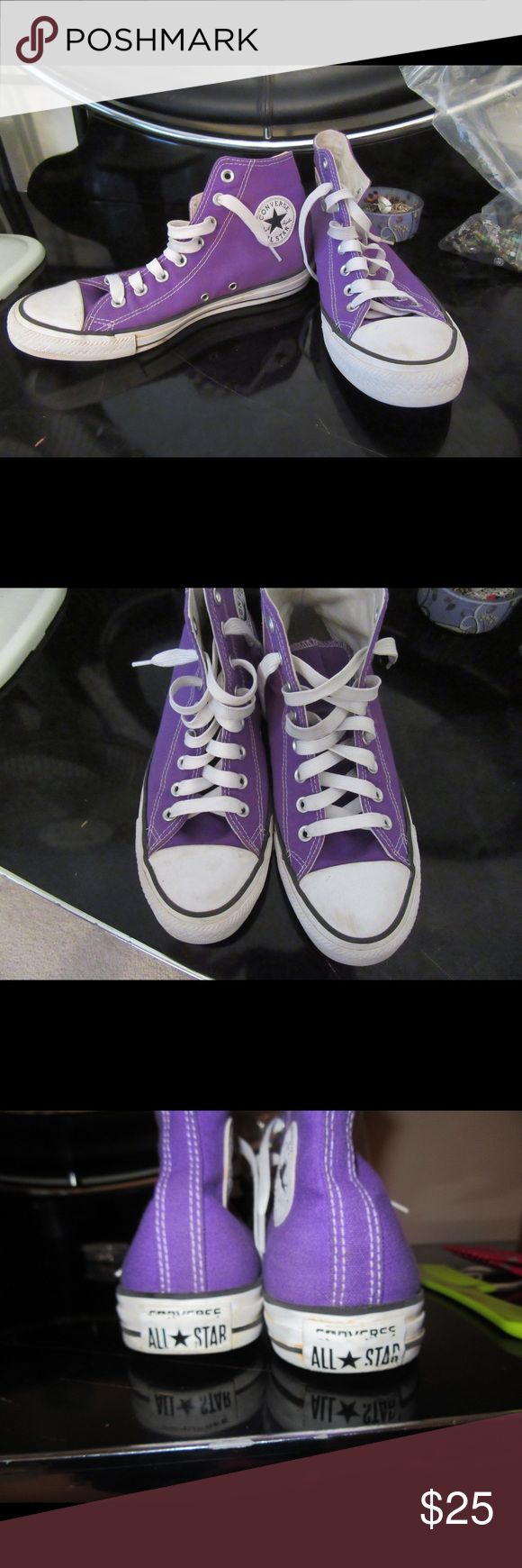 Purple High Top Converse Purple High Top Converse. Women's size 9. THE LACES ARE NOT THE ORIGINAL ONES THAT CANE WITH THE SHOE!!! There is a bit of clay around the racer line but I will to my best to remove it thoroughly. Slight scuffing on the front, barely noticeable :) gently worn Converse Shoes Sneakers