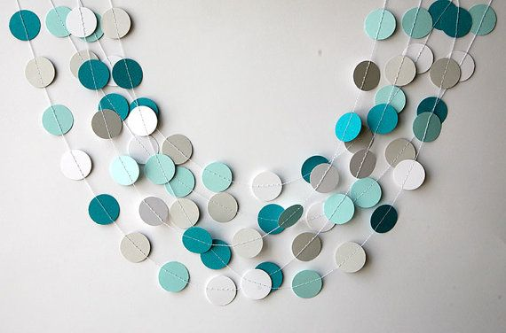 Teal white and gray paper garland Heart door TransparentEsDecor, $6.00
