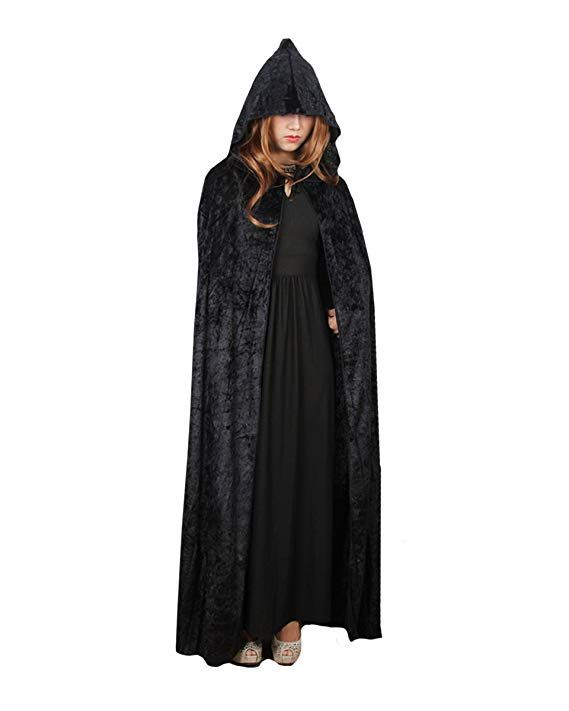 03fd1a044ef Orfila Women Full Length Halloween Cloak Masquerade Velvet Hooded Cape Robe  Drama Cosplay Costumes Witch Wizard Magician