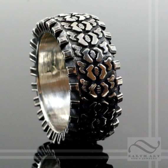Detailed Sterling Silver Truck Tire Ring by mooredesign13 on Etsy, $250.00