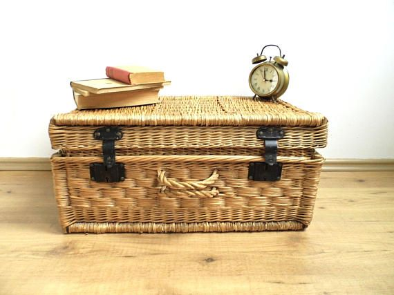 Vintage Wicker Suitcase Antique Steamer Trunk Laundry Basket Hamper Large Woven Coffee Table Chest Display Blanket Storage Farmhouse Decor Available adorable antique steamer trunk / wicker woven laundry basket with lid, front wicker handle and galvanized metal latches. Handmade in 1920s - very rare already and hard to find item! Wicker woven shows significant wear - it is faded due to sun exposure, there are some minor torns, scuffs, some stains, and stuntung grayish patina. Corners are...