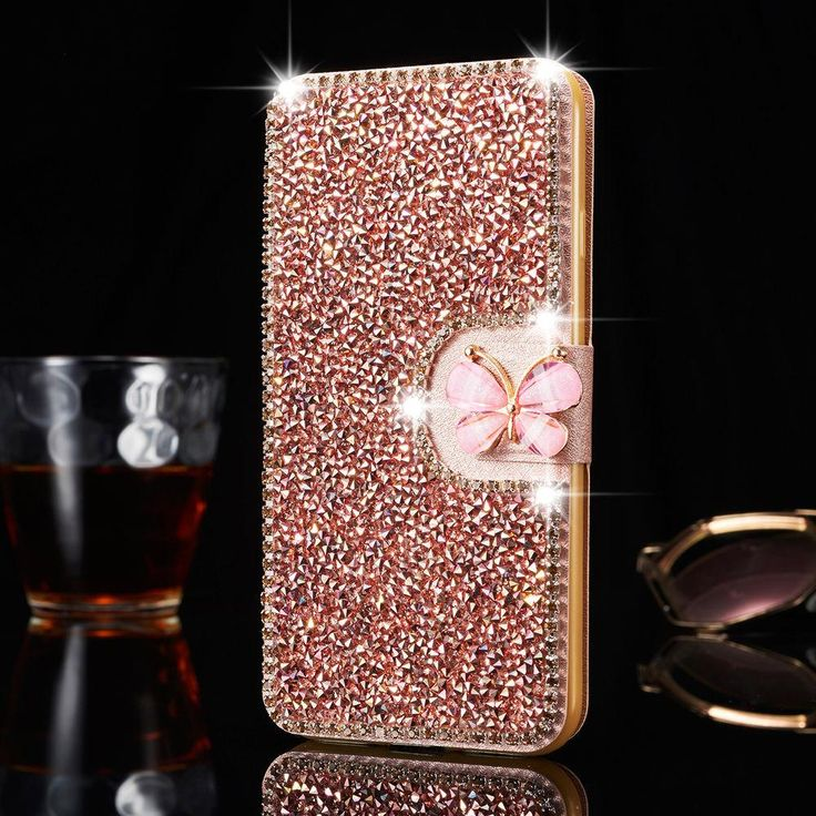 Galaxy Note 5, 4, S8 Plus/S8, S7/7 Edge - Gem Ice Chips With Butterfly Bling Tab