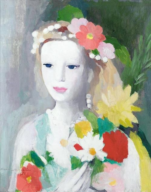 Young Girl with a Garland of Flowers, by Marie Laurencin (French, 1883-1956).