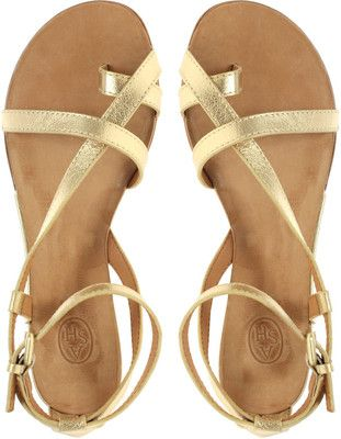 Pair strappy sandals with any summer outfit. #goldrush
