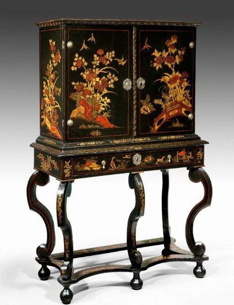 "A William and Mary japanned and lacquer cabinet-on-stand Ca1690 England. 53.5""H x 35""W x 16""D."
