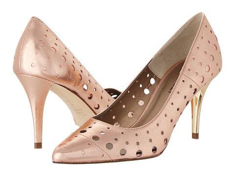Vaneli Skinny rose gold with open holes design high heels