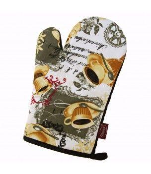 Rękawica kuchenna w filiżanki i napisy - elegancka i stylowa