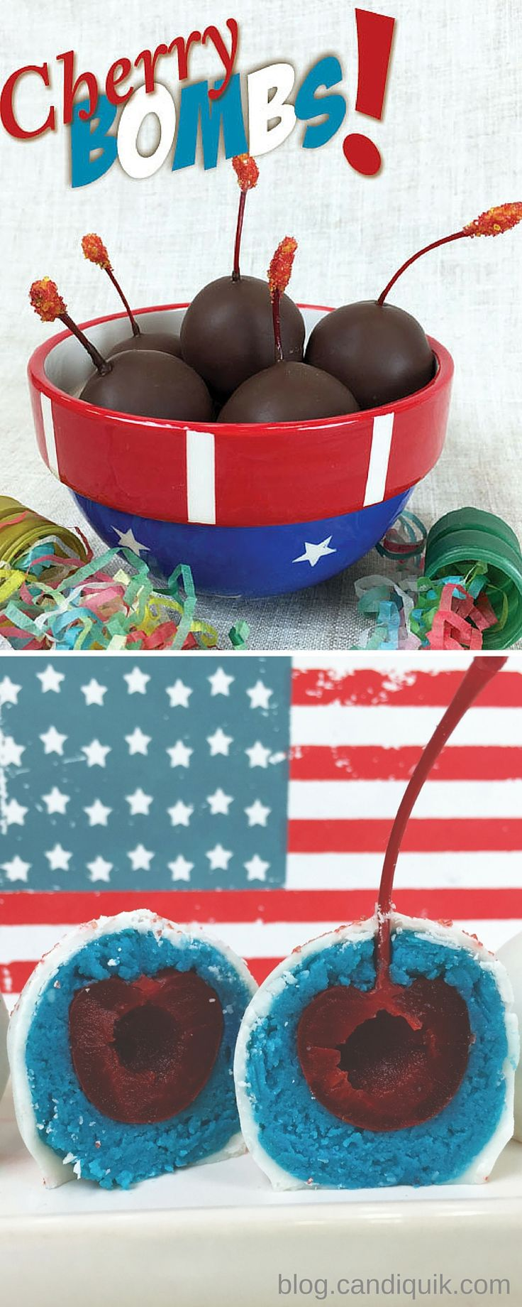 Cherry {Cake} Bombs two ways! So cute for Memorial Day or 4th of July! blog.candiquik.com