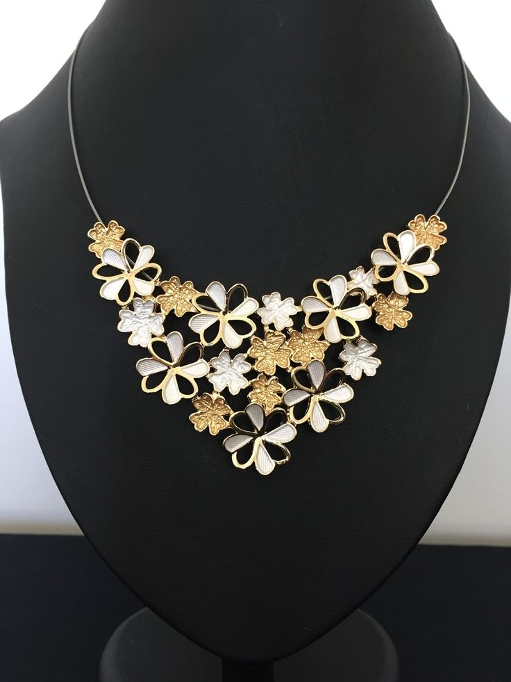 Unique Fashion Jewellery Australia - Gold and White Enamel Flowers Cluster Ikita Necklace, $52.00 (http://www.uniquefashionjewellery.com/gold-and-white-enamel-flowers-cluster-ikita-necklace/)