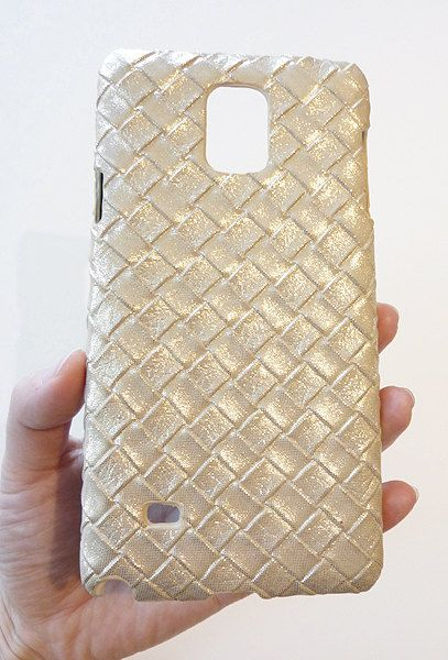 Washed Brown Leather Woven Weave Texture Hard Case Cover For Samsung Galaxy Note 4 IV by Yunikuna