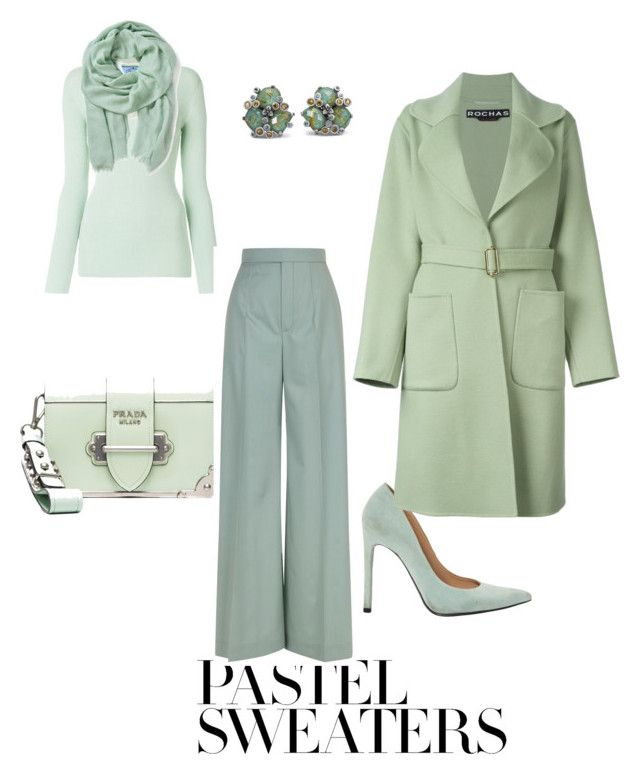 Spring comes with green.... by ellam6320 on Polyvore featuring polyvore fashion style Prada Rochas Chloé Stuart Weitzman Stephen Dweck Altea clothing pastelsweaters