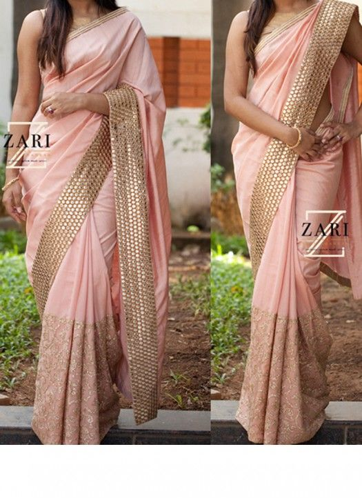 Buy Peach Nylon Georgette Saree