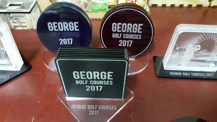 Made by www.lasercandy.co.za #LaserCandy#PerspexCoasters#WesternCapeGolfCourses#Customised#Golf#CustomGifts