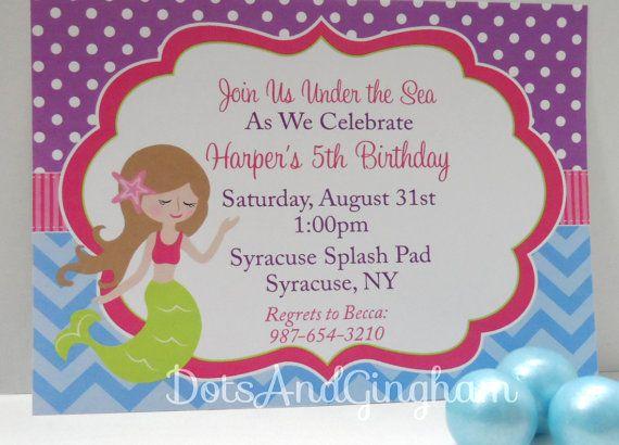 Mermaid Invitation-Mermaid Invite-Under the Sea-Chevron Mermaid Invite-Pink and Green Mermaid Invite-Mermaid Party-Printable Mermaid Invite