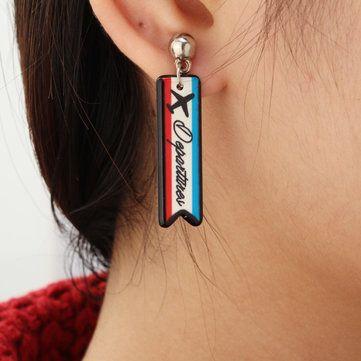 Asymmetric Stripe Plane Hip Hop Earrings Personality Earrings at Banggood