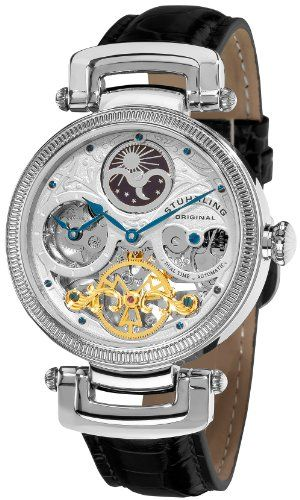Stuhrling Original Men's 353A.33152 Special Reserve Emperor Magistrate Automatic Skeleton Dual Time Zone Silver Tone Watch - http://watches.amazonchoices.com/watches/mens-watches/stuhrling-original-men39s-353a33152-special-reserve-emperor-magistrate-automatic-skeleton-dual-time-zone-silver-tone-watch-com/