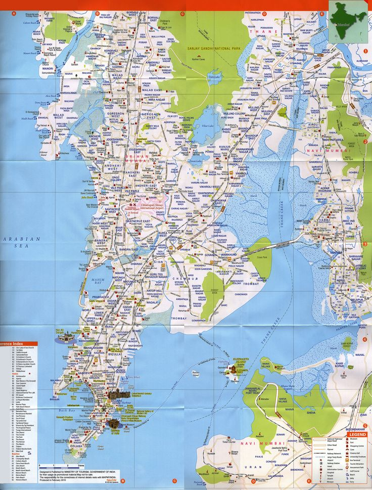 https://flic.kr/p/F7wrVy | Mumbai City Map, Must see Sites; 2015_2 map, Maharashtra state, India | tourism travel brochure | by worldtravellib World Travel library