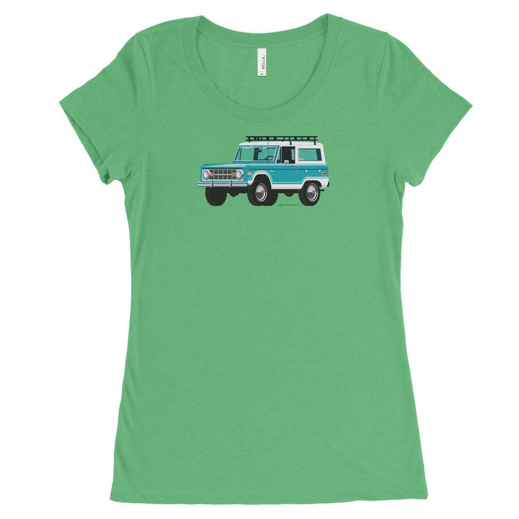 Ford Bronco, Car in Turquoise on Green, Women's Tee