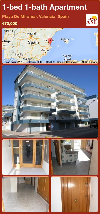 1-bed 1-bath Apartment in Playa De Miramar, Valencia, Spain ►€70,000 #PropertyForSaleInSpain