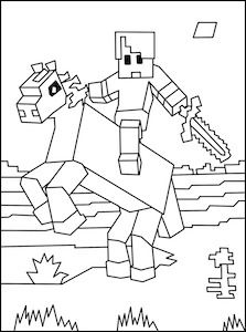 minecraft horse and rider coloring page coloring book - Minecraft Coloring Books