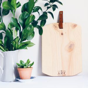 Ark Wood Serving Board : Rounded with leather handle