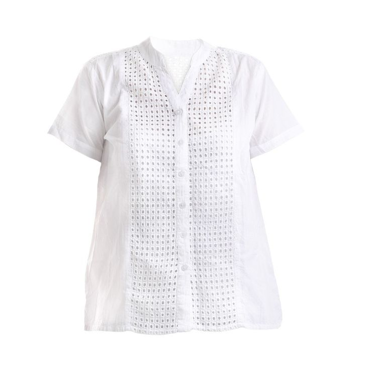 SHIRT IN WHITE COLOR WITH FABRIC PRINTS - Blouses-Shirts - Clothes