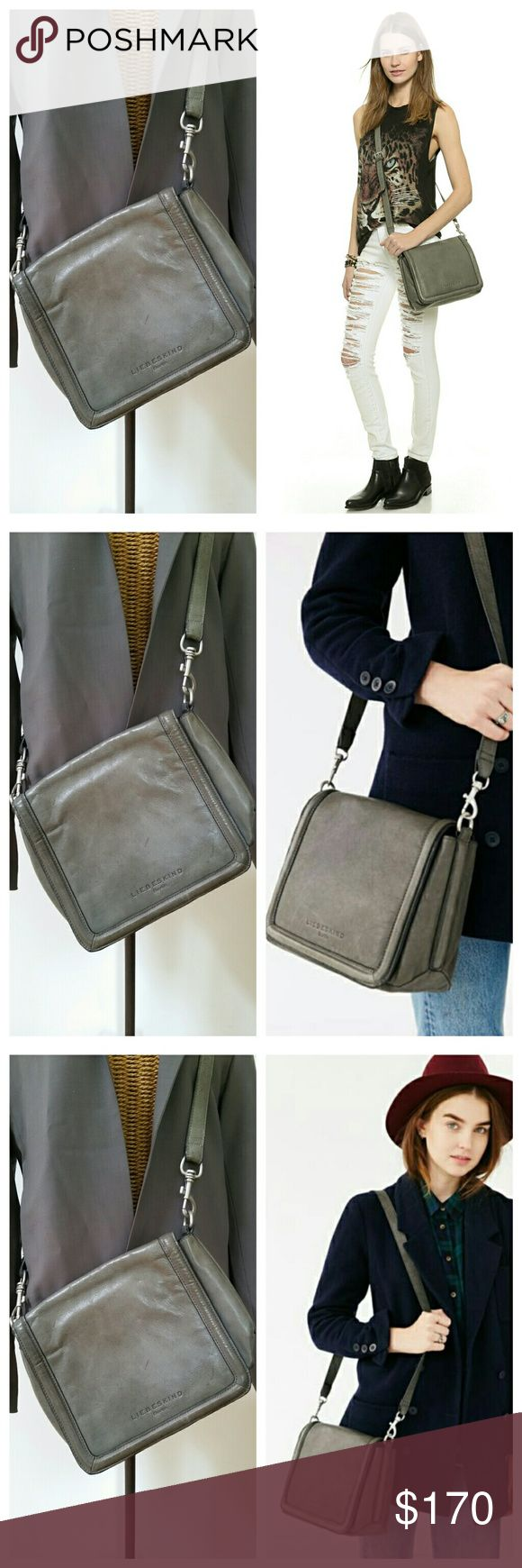 """LIEBESKIND grey leather crossbody messenger bag Gorgeous purse Dark grey 11"""" wide x 9.5"""" tall x 2"""" deep  A few scratches..overall very good condition  Clean interior with divider sections and zipper pocket Liebeskind Bags Crossbody Bags"""