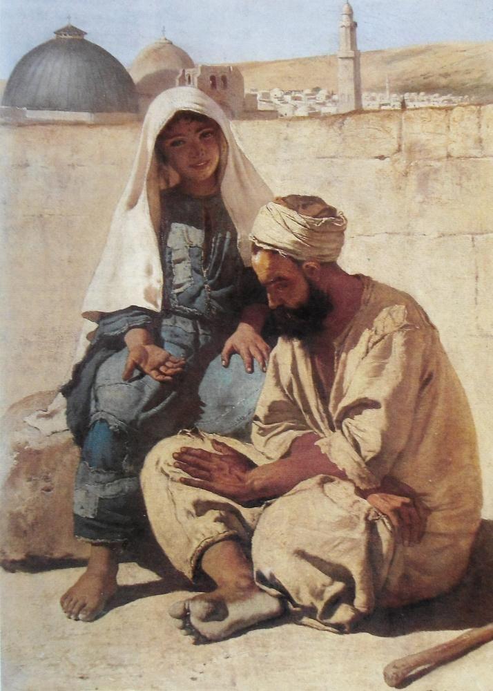 """Charles VERLAT (1824-1890), """"Mendiants à Jérusalem"""", 1875, huile sur toile…"""