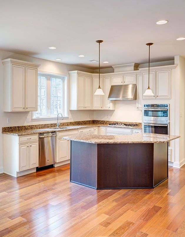 Gorgeous White Kitchen Cabinets In Moorestown, New Jersey. Love The Dark  Stained Kitchen Island