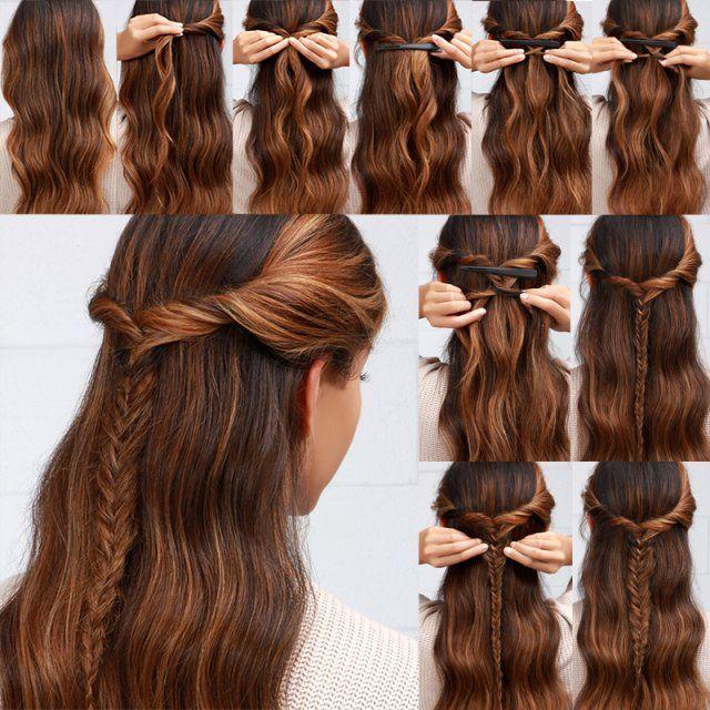 Schnelle und einfache Frisuren in 2 Minuten sehen für die Arbeit oder für die Schule schön aus