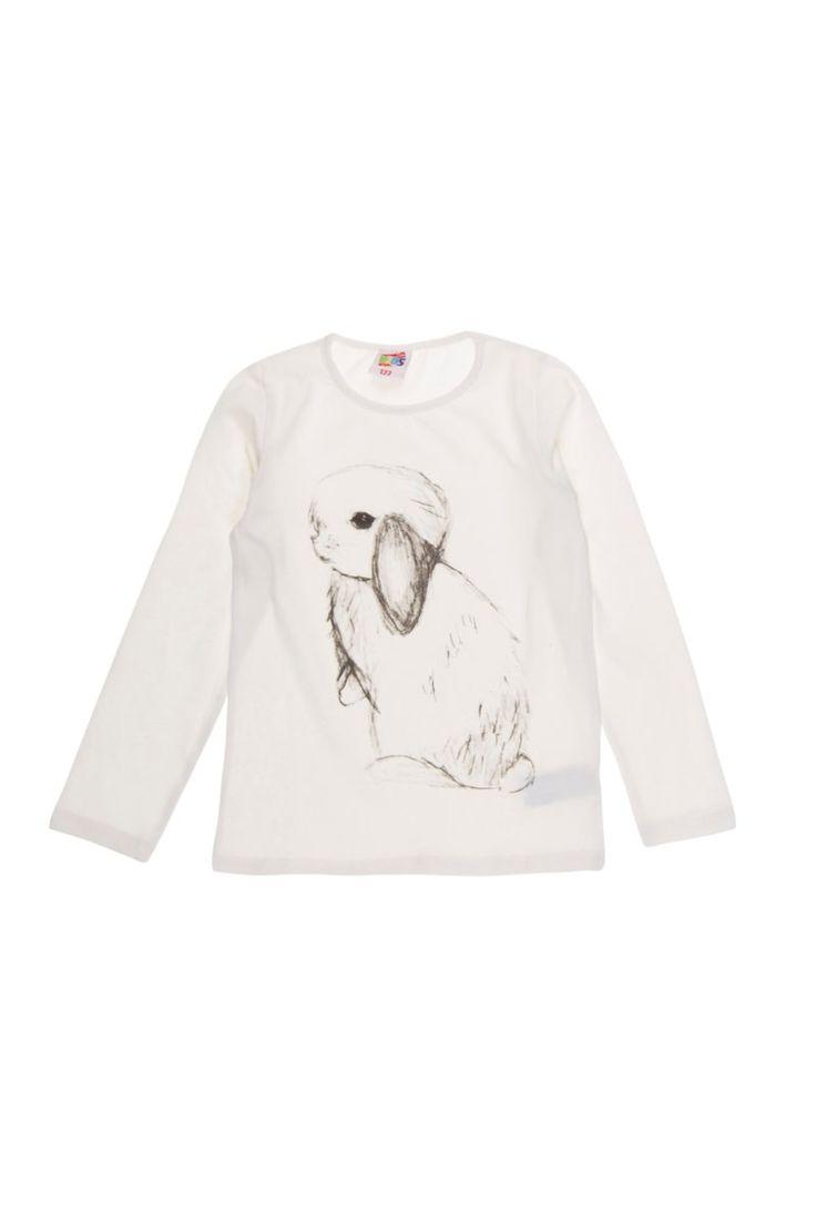 Bluzka dziewczęca gładka, z printem - XBD1056KRV4 - ubrania dla dziewczynki - txm24.pl 15 zł