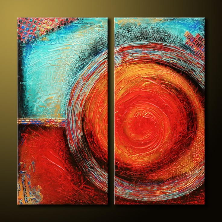 Original Zen Abstract Painting TEXTURED Modern 36x36 Canvas Red, Teal, Gold, Acrylic Fine Art by Maria Farias. $325.00, via Etsy.    ...BTW,Please Check this out:  http://artcaffeine.imobileappsys.com