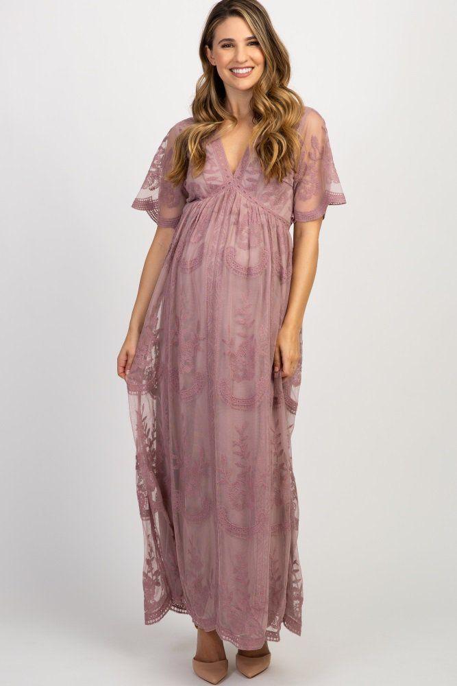 d220610b01e Mauve Lace Mesh Overlay Maternity Maxi Dress in 2019