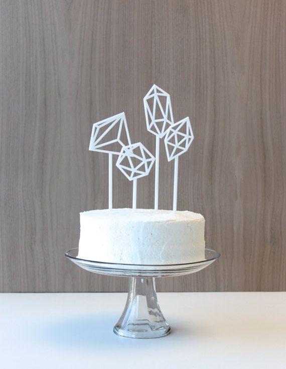 Geometric Cake Toppers matte white gems set by hostandtoaststudio, $54.00