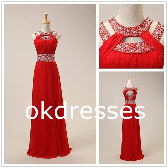 Red Long Fashion Prom Dress,Beaded Crystal High Neck Evening Dress,A Line Open Back Chiffon Evening Prom Gowns,Formal Women Dress on Etsy, $149.99